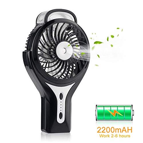 Mini Ventilador de Nebulización Ventilador de Mano con Rociador de Agua, Portátil y Silencioso, Batería de 2200 mAh, 3 Velocidades & 2 Modos de Rociado para Cualquier Uso, Viajes y Oficina u Hogar