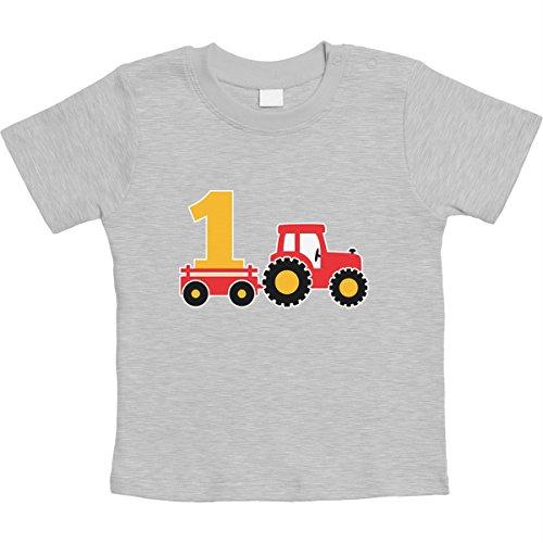 1 Jahr Geburtstag Junge Geschenk Traktor Bagger Unisex Baby T-Shirt Gr. 66-93 12-18 Monate / 86 Grau (Baby-jungen 1 Jahr-outfit)