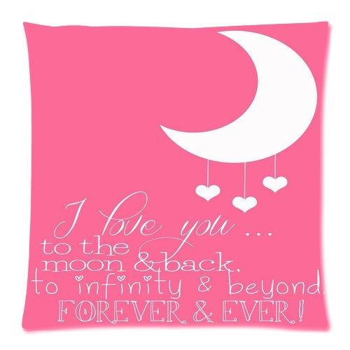 quote Home Decor Kissenbezüge I Love You to The Moon and Back Zitat 45,7x 45,7cm Zwei Seiten Reißverschluss Weiche Baumwolle Kissenbezüge