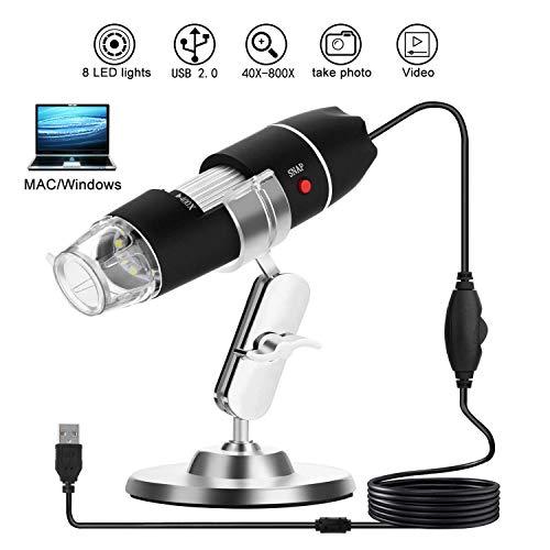 WADEO Microscopio Digital USB Electronica 8 Led Portatil