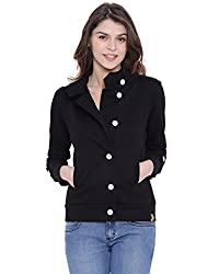 Campus Sutra Women Black High Neck Jacket(AW16_JKHNK_W_PLN_BL_M)