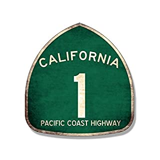 American Vinyl Vintage Pacific Coast Highway 1 Sign Shaped Aufkleber (PCH California Route)