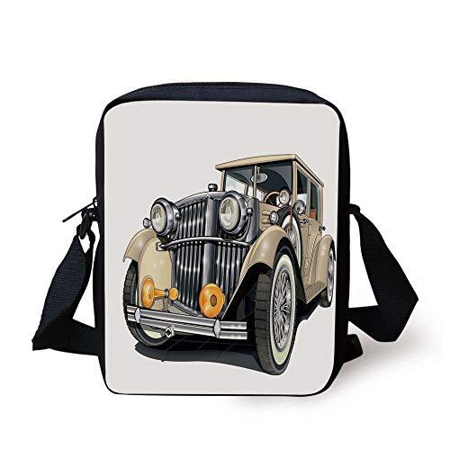 LULABE Cars,Vintage Vehicle Design Retro Car Hand Drawn Digital Classical Automobile Print Decorative,Eggshell Silver Print Kids Crossbody Messenger Bag Purse (Automobil-laptop-stand)