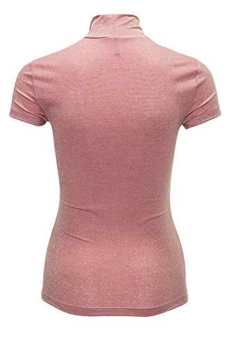 Only Damen T-Shirt Live Love SS Glimmer Highneck Top Mesa Rose