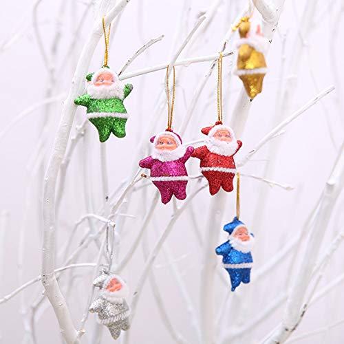 Goodtimes286Mini Santa Claus Puppe Glitzer Zum Aufhängen Anhänger Weihnachtsbaum Ornament Geschenk Multi -