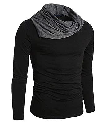 Fashion Gallery Tshirts for Men|Full Sleeve Cowl Neck Tshirts|Men's Regular Fit Cotton Tshirt (Black, Small)