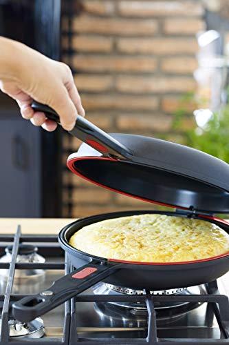 BRA Dupla Premiere - Sartén doble para tortilla, aluminio fundido antiadherente, diametro 24 cm, incluye recetario de regalo, apta para todo tipo de cocinas incluida inducción
