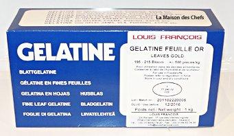 gelatine en finas hoja oro Louis Francois producto original porcine 195-215Bloom aproximadamente 500piezas para uso en los alimentos. Mantener a la ébri de humedad y de calor