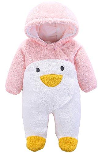 BOZEVON Unisex Baby Kleinkind Overall Strampler Cartoon Onesies Strampelanzug mit Kapuze Mädchen & Jungen Jumpsuit Winter Bodysuit Outfits , Pinguin ( Rosa (Outfit Pinguin)