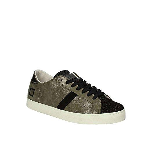 D.A.T.E. Sneaker Hill Low Stardust in Pelle e Glitter Verde