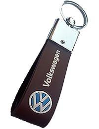 ORAS Premium Quality Volkswagen Leather Strip Keychain, Brown