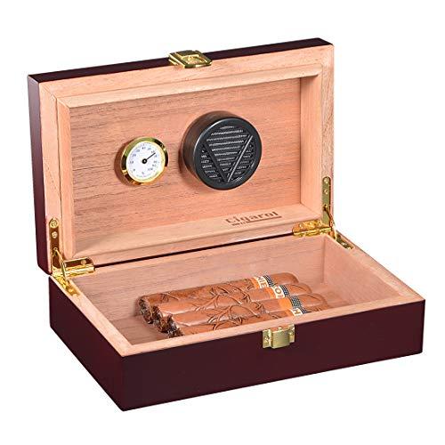 Volenx Zigarren Humidor, Tragbarer Reise Humidor mit Hygrometer für 5-10 Zigarren