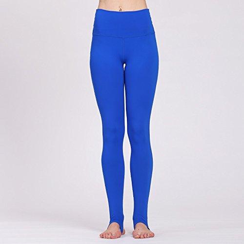 Solid Color-leggings (PU&PU Damen Sport Gym Yoga Workout Mid Taille Laufhose Fitness Elastische Steigbügel Leggings Solid Color, Blue, m)