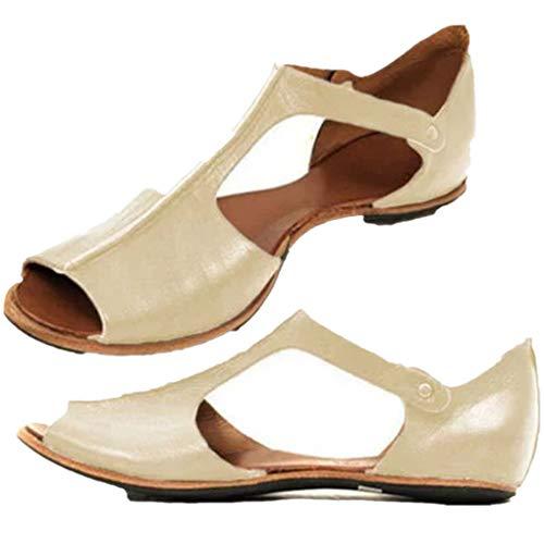 Übergroßer Sandalen für Damen/Dorical Frauen Sommer Retro-Peep-Toe-Sandalen mit seitlicher Abdeckung Damenschuhe Mode einfache PU-Leder Schuhe rutschfest 35-43 EU Ausverkauf (41 EU, Z07-Beige)