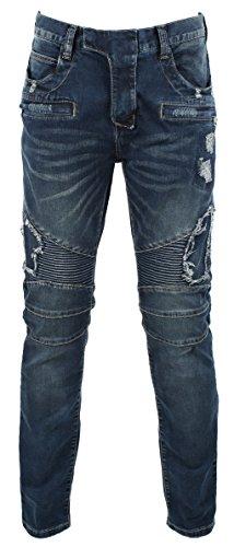 KooL J Herren Jeans mit Reißverschlüssen im Biker-Stil, schlank, gerade, Größe 30-46 - blau - 42W / 33L - Rogan Herren Jeans