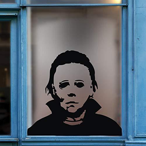 FlyWallD Urlaub Aufkleber Michael Myers Halloween Horror Jungen Wohnzimmer Kinderzimmer Aufkleber Funny Türschild Fenster Spiegel Vinyl Art Decor S-18''WX16''H Schwarz (Myers Dekorationen Michael)