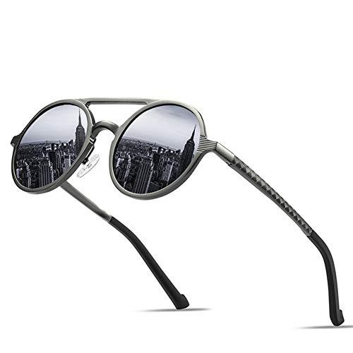 GEETAC Retro-Sonnenbrille für Männer Frauen, polarisiert 100% UV-Schutz John Lennon Steampunk Metall Al-mg Leichte Herren Damen Sonnenbrille,Gray