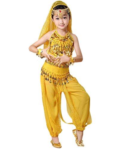 hen Bauchtanz Kostüm Indische Tanz Bauchtanzanzüge Gelb#2 M (Prinzessin Indische Kostüme)