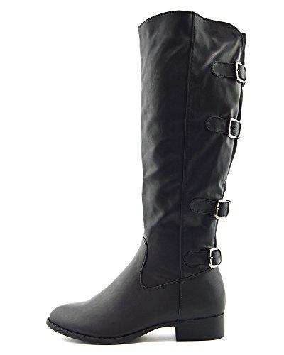 Kick Footwear Frauen über Die Knie Hohe Elastische Panel Stretch Stiefel Winter - UK 7/EU 40, Schwarz - Schnalle, Winter Long Boots For Women -