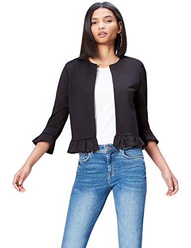 FIND Jacke Damen mit Rüschen und offener Front, Schwarz, 38 (Herstellergröße: Medium)