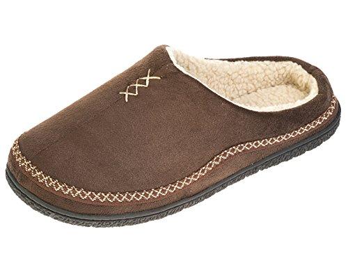 Herren Kühler Marke MicroSuede Mule mit Polar Fleece Futter Slipper Brown 9-10 (Brown Faux-pelz-stiefel)