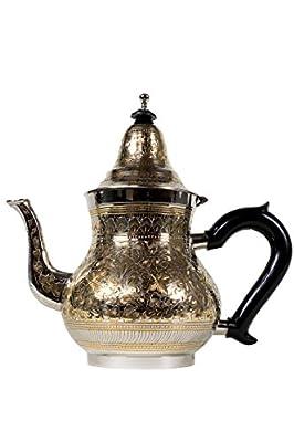 Théière en laiton traditionnelle - baha XL Doré/argenté - 1250 ml - Orient Orientale thé à la menthe marocaine Maroc Marrakech