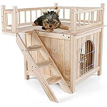 DJLOOKK Animales pequeños Jaulas Mascota Casa de Perro para Gatos Casa de Madera al Aire Libre
