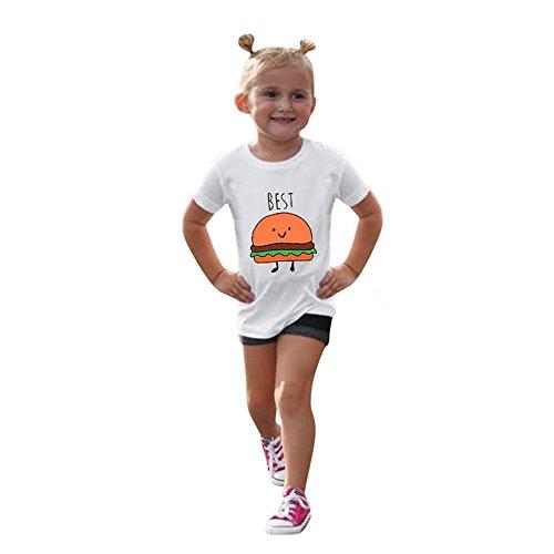 LILICAT Enfants Enfants Bébé Filles Garçons D'été mignon pommes chips et Burger Lettre Imprimer Soft Tops Mignon T-Shirt Vêtements 3T-7T (Orange, S)