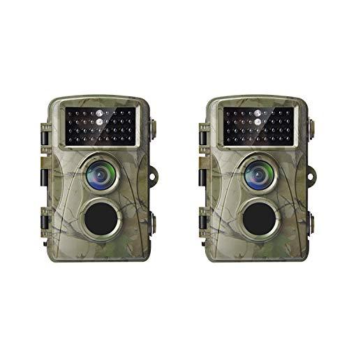 AlfaView Wildkamera 12MP 1080P Wildlife Pfadpfinder Jagdkamera Motion Bewegungsaktiviert Nachtsichtspiel Cam mit 2,4 Zoll LCD Display IP56 Wasserdichtes Design für Jadg und Heimsicherheit(2 X Pack) 1,5 V Dc Aa Pack
