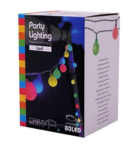 Party Lichterkette 80 LED bunt - Netzteil / 16m - Pavillon Außen Party Beleuchtung
