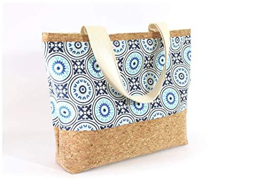 Braune Tasche aus Korkstoff mit blauem Mandala Muster - 3