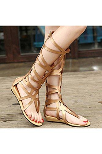 Oasap Femme Sandals Tige Haute Zip Eté Style Rome Noir