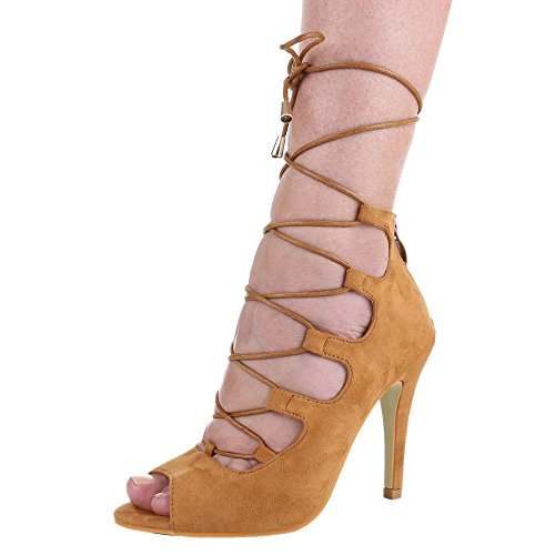 Damen Schuhe, JH2021-8, SANDALETTEN HIGH HEELS PUMPS MIT SCHNÜRUNG Camel