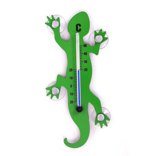 Frühling, Gut (HAB & GUT (TG001-GRÜN) Fenster - Thermometer Gecko GRÜN Metall, 14 cm Länge, Salamander mit 4 starken Saugnäpfen zur Befestigung innen/außen)