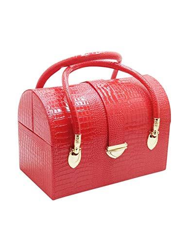 WSQJPEH888 Koffer, mehrschichtige schmuck aufbewahrungsbox, pu Leder doppel offenen Aufbewahrungstasche, schmuck, Kosmetik, Nagel Werkzeug aufbewahrungsbox, Unisex (Color : Red)