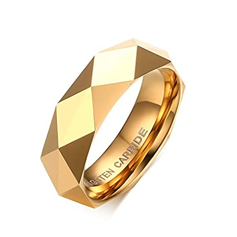 Vnox 6mm Mens Tungsten Carbide Wedding Band Faceted Triangle Cut Surface Engagement Ring Gold UK Size R