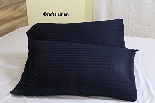 Satin-streifen-600-thread (Crafts Leinen Ägyptische Baumwolle 600-thread-count Satin 2qty Kissenbezug Body (50x 150cm), navy blau gestreift)