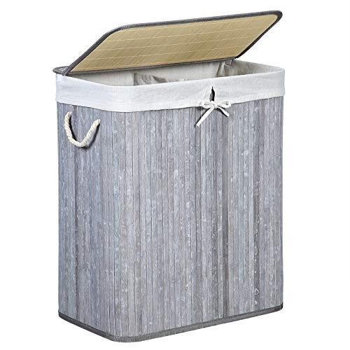 SONGMICS Wäschekorb aus Bambus, Wäschesammler mit 2 Fächern, Wäschesortierer mit Deckel und herausnehmbarem Wäschesack, Tragegriffe aus Baumwolle, 100 L Wäschebox, Retro Grau LCB74GW