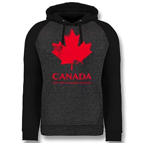 Shirtracer Länder - Canada Vintage Not just Colder Cooler - XXL - Anthrazit meliert/Schwarz - JH009 - Baseball Hoodie