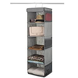 Zober 5-Shelf Hanging Closet Organizer - 6 Side Mesh Pockets Breathable Polypropylene Hanging Shelves - for Clothes Storage and Accessories, (Gray) 30.5 cm x 28.5 cm x 106.5 cm
