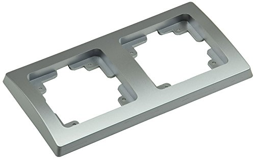 ChiliTec Delphi Rahmen für Serie Unterputz Aufputz Mehrfach-Rahmen Elektroinstallation passend für Komponenten Schalter Steckdosen Taster Netzwerk Dimmer PIR USB Dose usw. (2-Fach Rahmen, Silber)