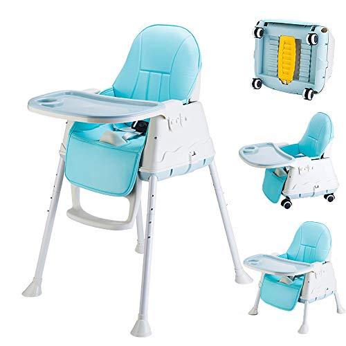 Rufun Trona para Bebé 3 en 1 Ajustable con Ruedas, Cinturón de Seguridad, Bandeja, Cojín (Azul)