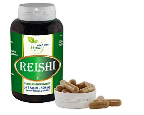 VITAIDEAL VEGAN® REISHI PILZE (Linh Chi, Ganoderma lucidum) 60 Kapseln je 500mg, rein natürlich ohne Zusatzstoffe. - 500 Mg 60 Vegi-kapseln