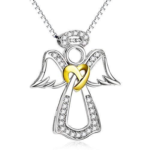 Silver Mountain 925 Sterling Silber Schutzengel Engel Herz Knoten mit Zirkonia Halskette mit 45,7 cm Box Kette
