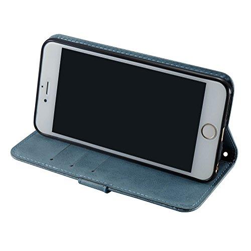 Custodia iPhone 6 Plus,Custodia iPhone 6S Plus, Cover iPhone 6 Plus/6S Plus, ikasus® iPhone 6 Plus/iPhone 6S Plus Custodia Cover [PU Leather] [Shock-Absorption] Goffratura Testa del cranio Modello Emb Blu