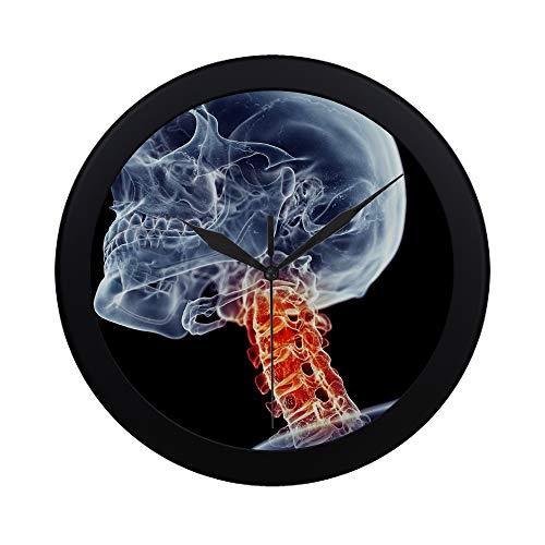 EIJODNL Moderne einfache medizinisch genaue schmerzhafte Hals-Wanduhr Innen-Nicht-tickende leise Quarz-ruhige Bewegungs-Wand Clcok für Büro, Badezimmer, Wohnzimmer dekorativ 9,65 Zoll