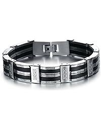 444ee61e9247 BOBIJOO Jewelry - Bracelet Gourmette Homme Acier Inoxydable Silicone  Carbone Argenté Noir Mode Tendance
