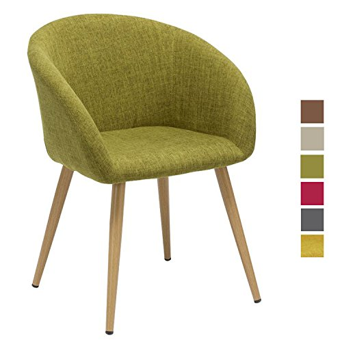 Sedia da sala da pranzo in tessuto (lino) Colore Senape Giallo Verde ...