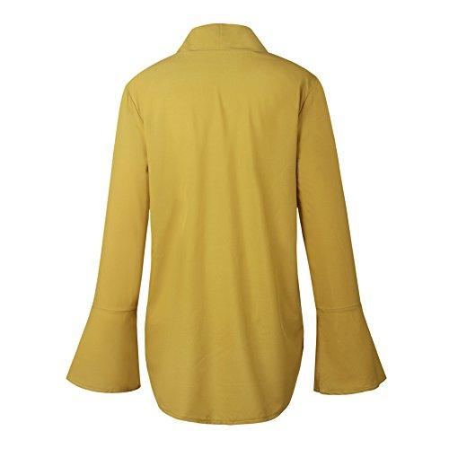 YuanYan Damen Trompetenärmel Bluse Chiffon Langarmshirt Elegant Oberteile für Herbst und Winter Gelb
