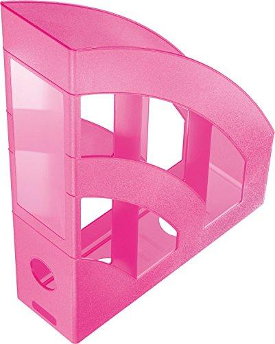 Helit H2361026 - Raccoglitore da ufficio verticale Economy, DIN A4 - C4, in plastica, rosa traslucido
